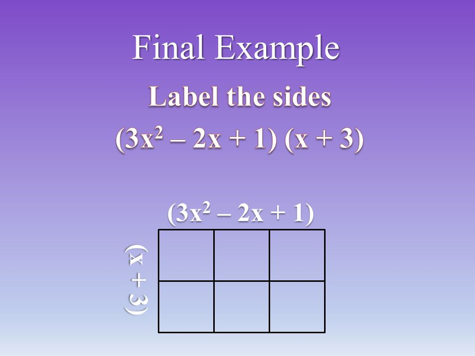 Label the sides (3x2 – 2x + 1) (x + 3)