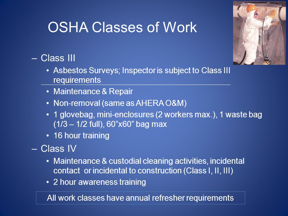 All work classes have annual refresher requirements
