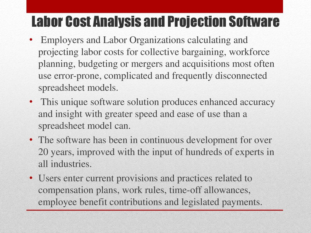 Software for Projecting and Analyzing Labor Costs for Collective