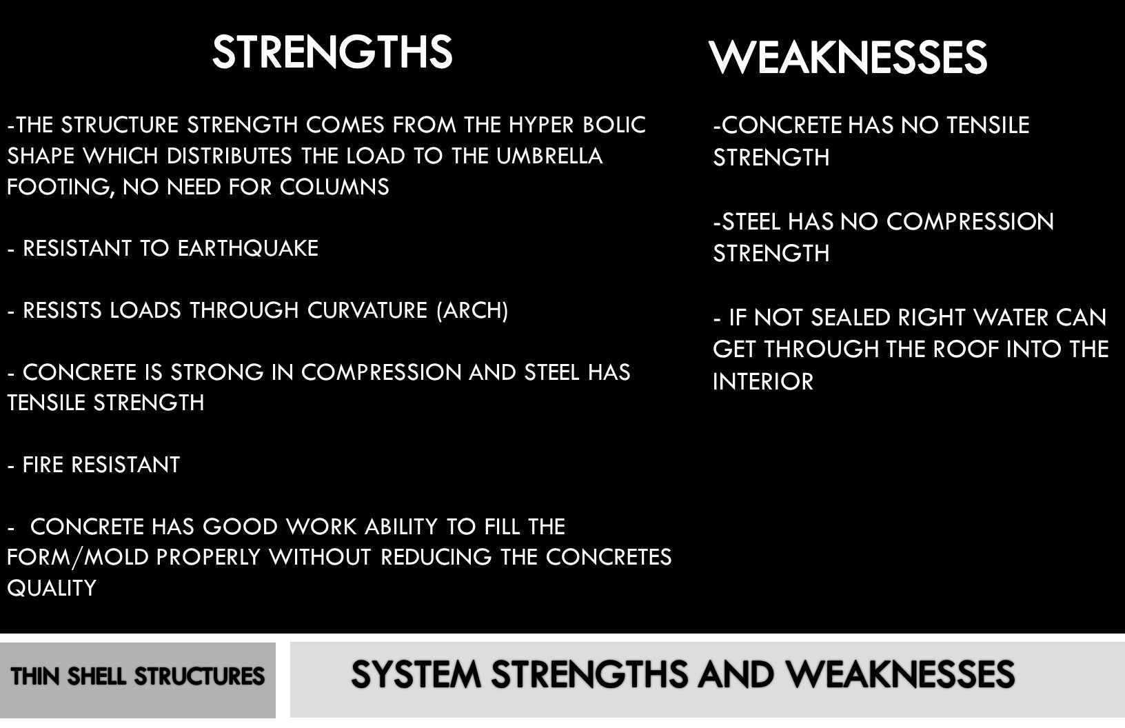 SYSTEM STRENGTHS AND WEAKNESSES