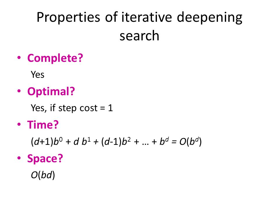 Properties of iterative deepening search
