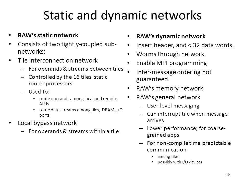 Static and dynamic networks