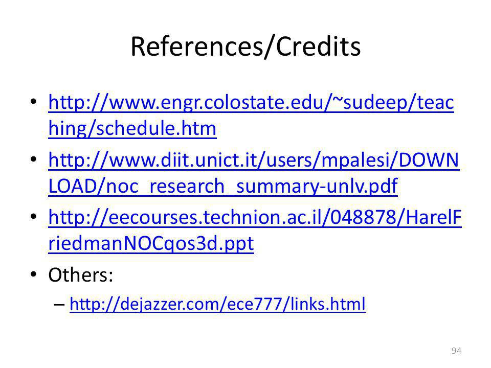 References/Credits http://www.engr.colostate.edu/~sudeep/teaching/schedule.htm.