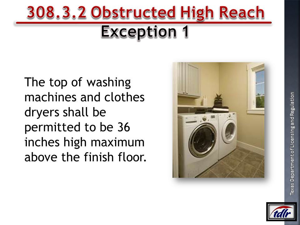308.3.2 Obstructed High Reach Exception 1