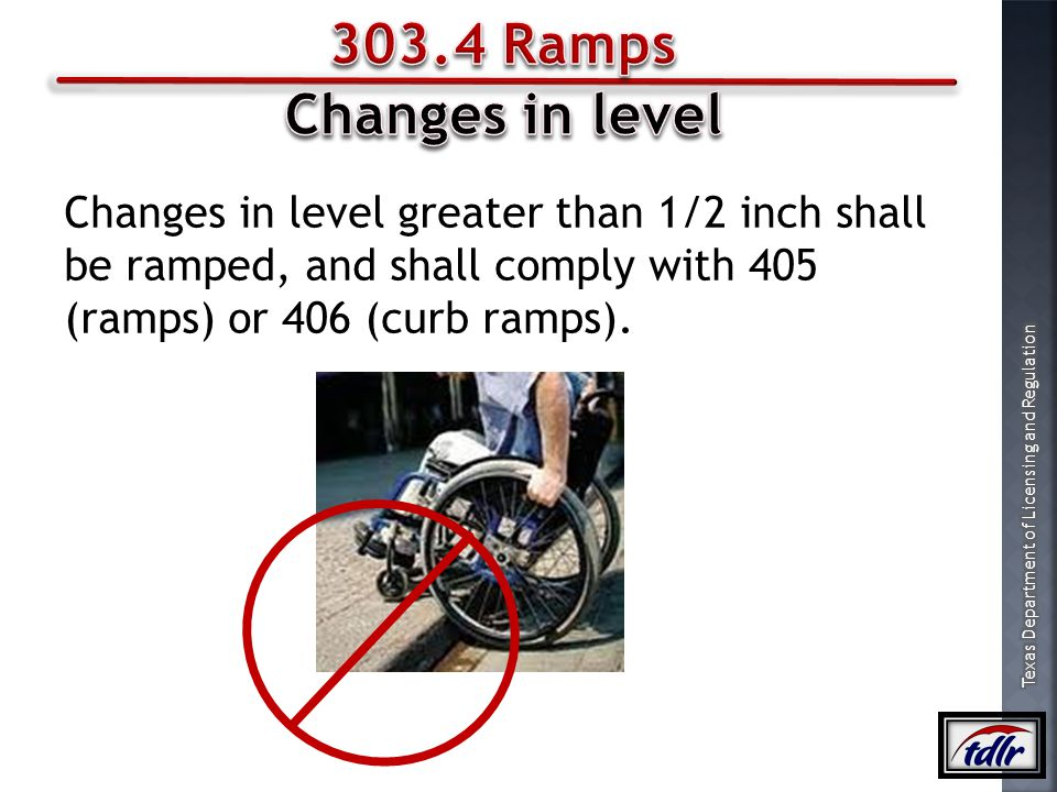 303.4 Ramps Changes in level.