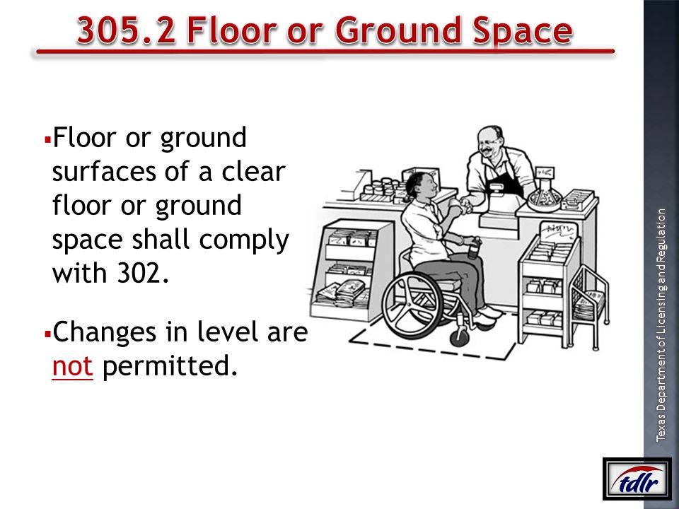 305.2 Floor or Ground Space Floor or ground surfaces of a clear floor or ground space shall comply with 302.
