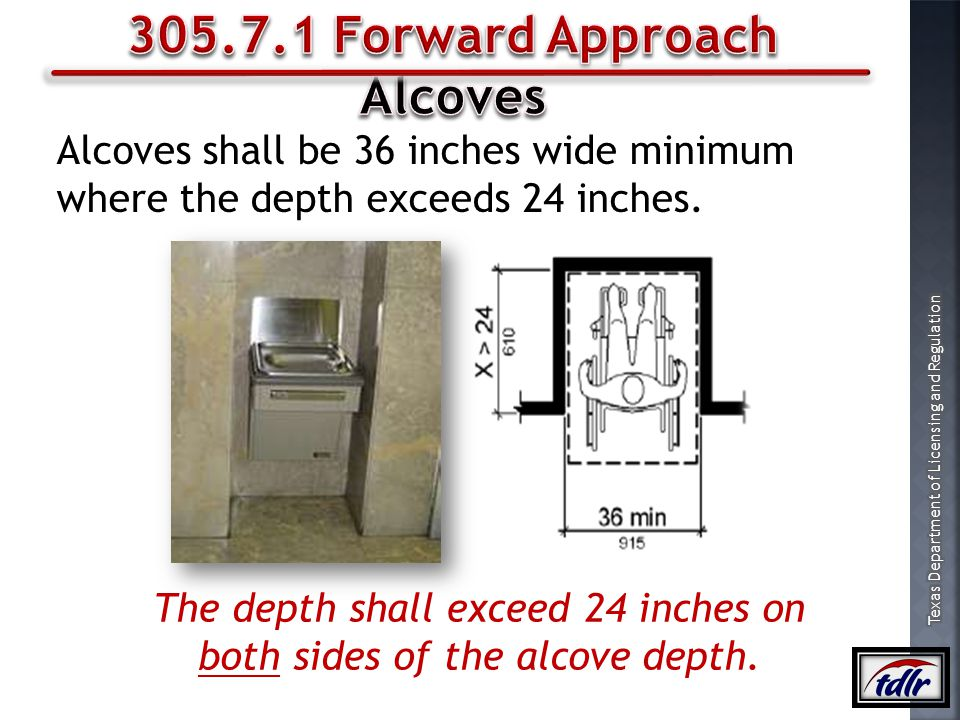 The depth shall exceed 24 inches on both sides of the alcove depth.