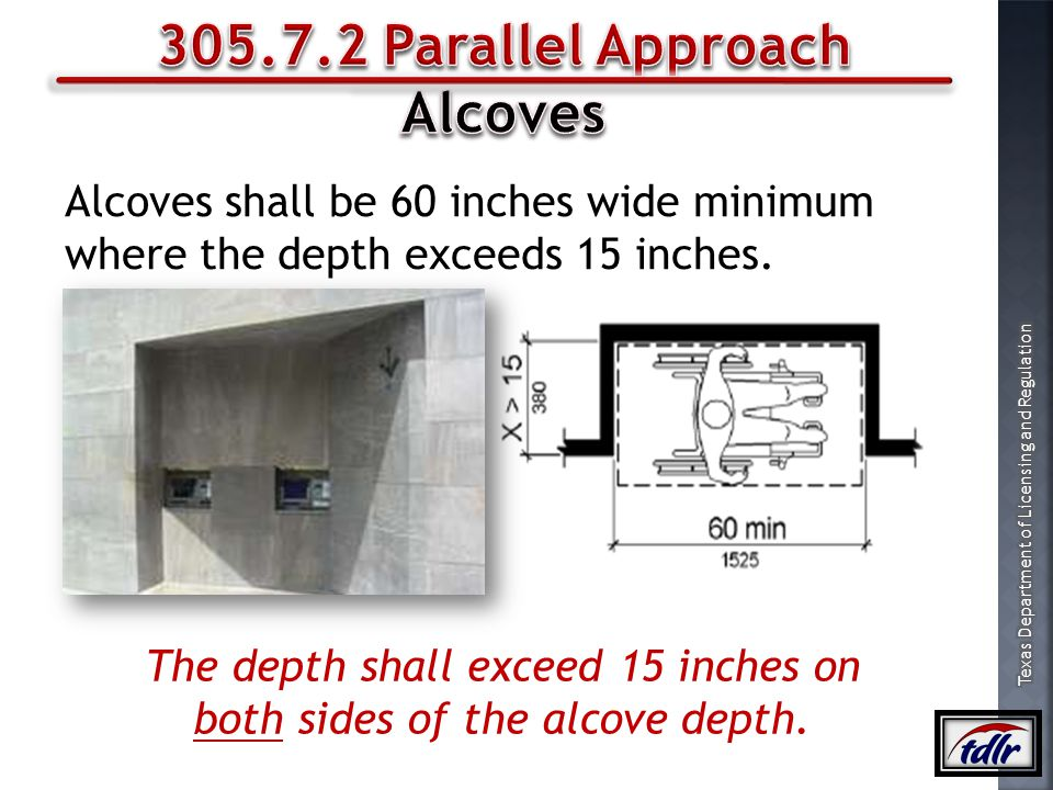 The depth shall exceed 15 inches on both sides of the alcove depth.