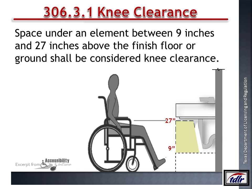 306.3.1 Knee Clearance Space under an element between 9 inches and 27 inches above the finish floor or ground shall be considered knee clearance.