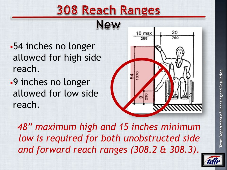 308 Reach Ranges New 54 inches no longer allowed for high side reach.