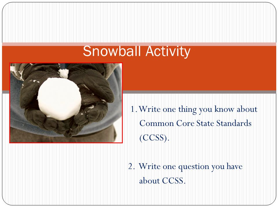 Snowball Activity 1. Write one thing you know about