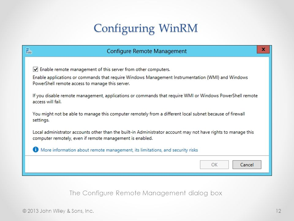 The Configure Remote Management dialog box