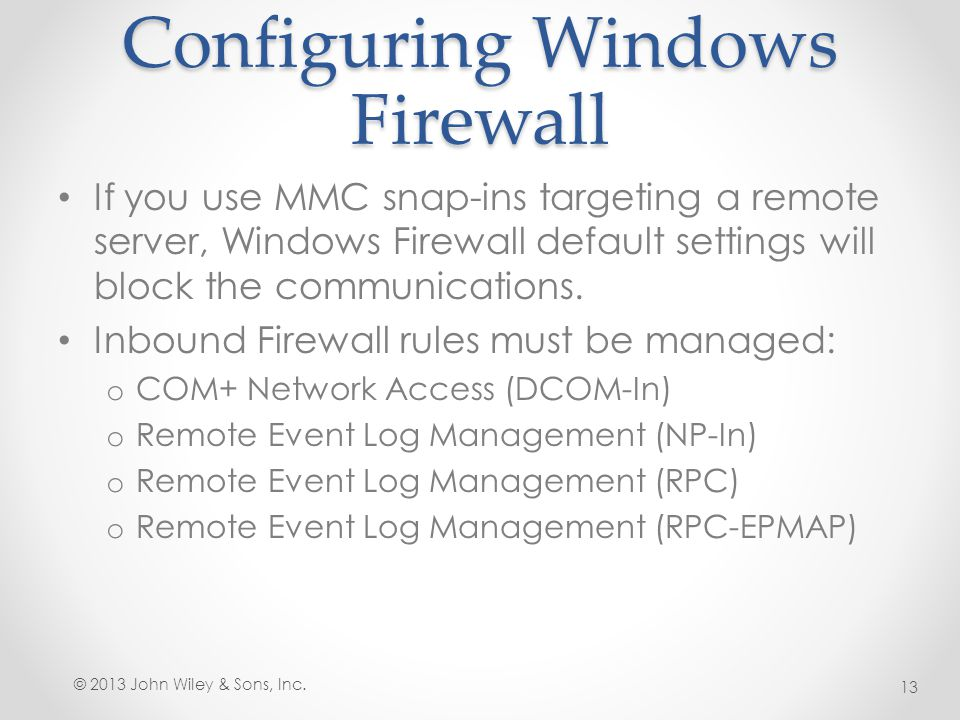Configuring Windows Firewall