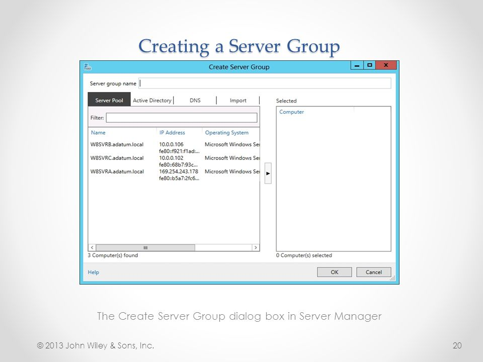 Creating a Server Group