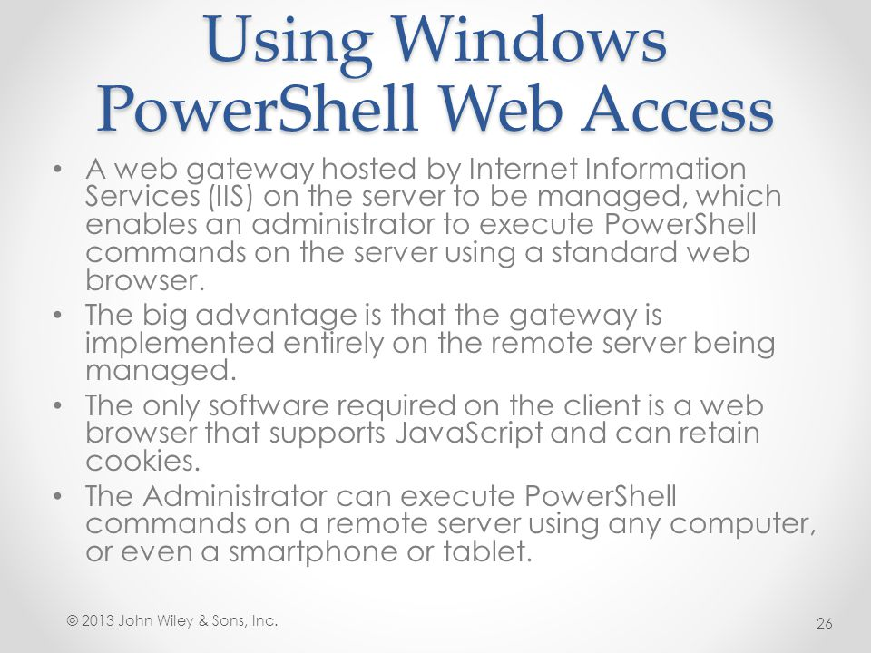 Using Windows PowerShell Web Access