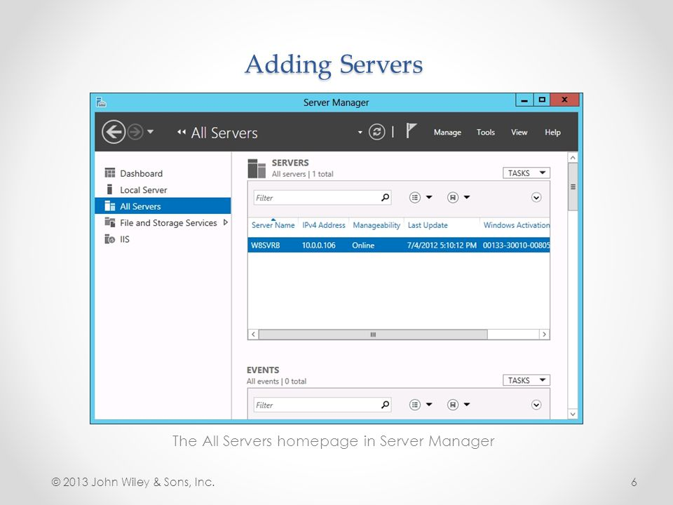 The All Servers homepage in Server Manager