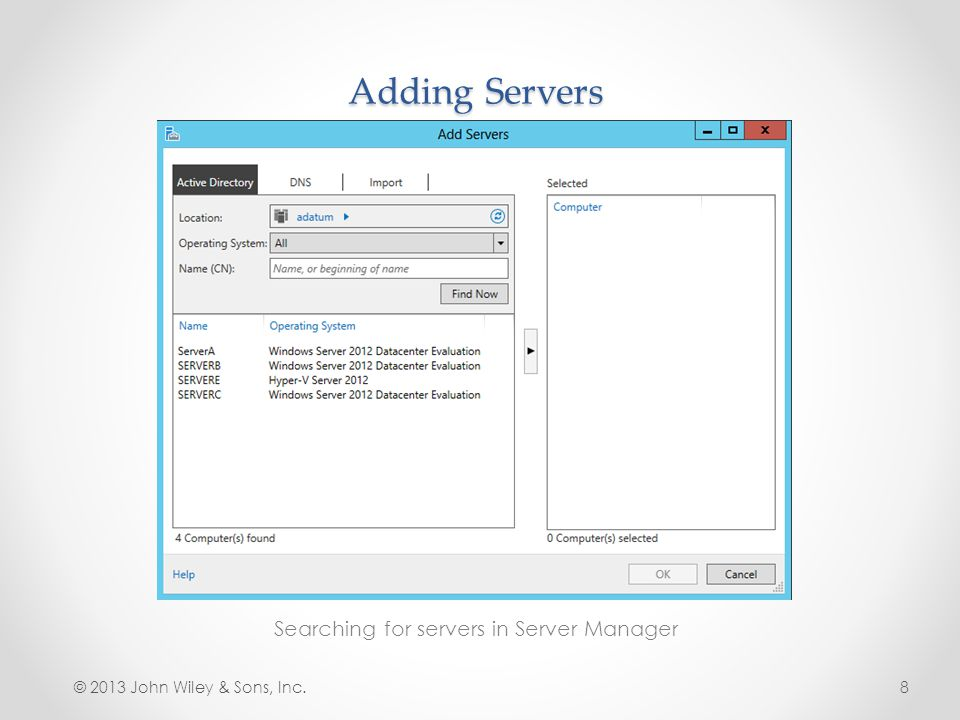Searching for servers in Server Manager