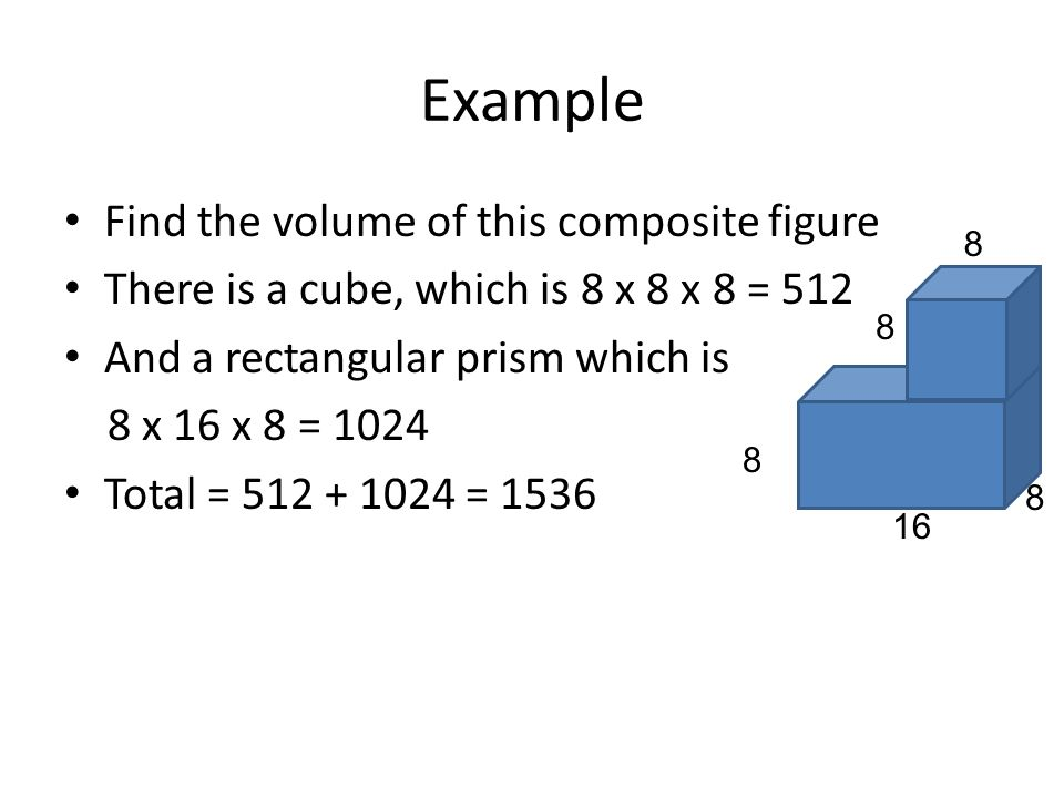 Example Find the volume of this composite figure
