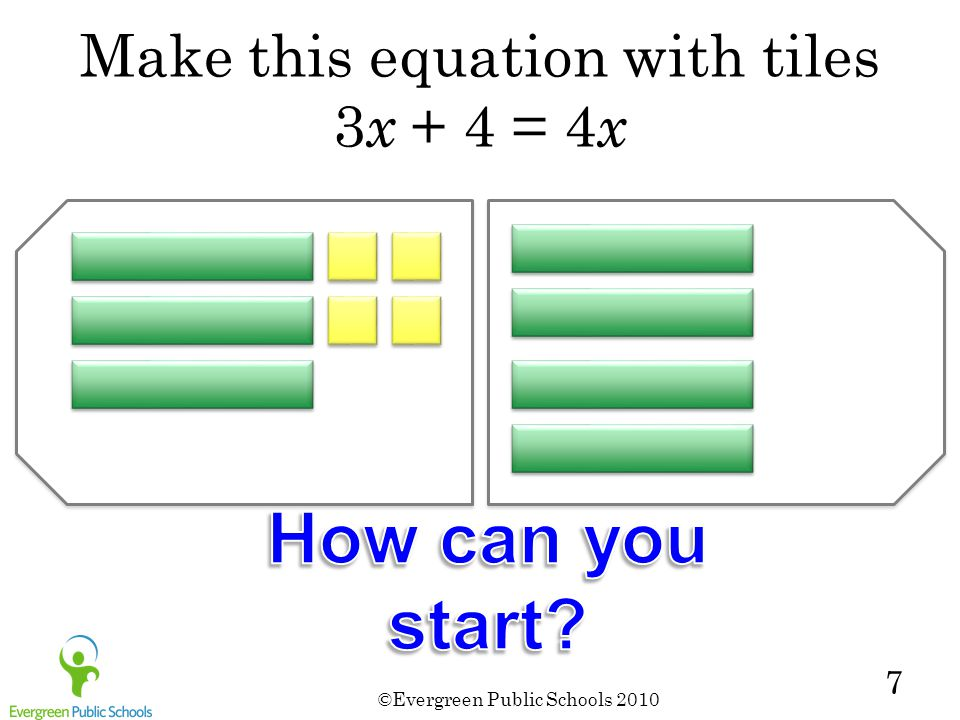 Make this equation with tiles 3x + 4 = 4x