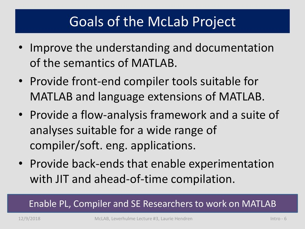 McLAB: A toolkit for static and dynamic compilers for MATLAB - ppt