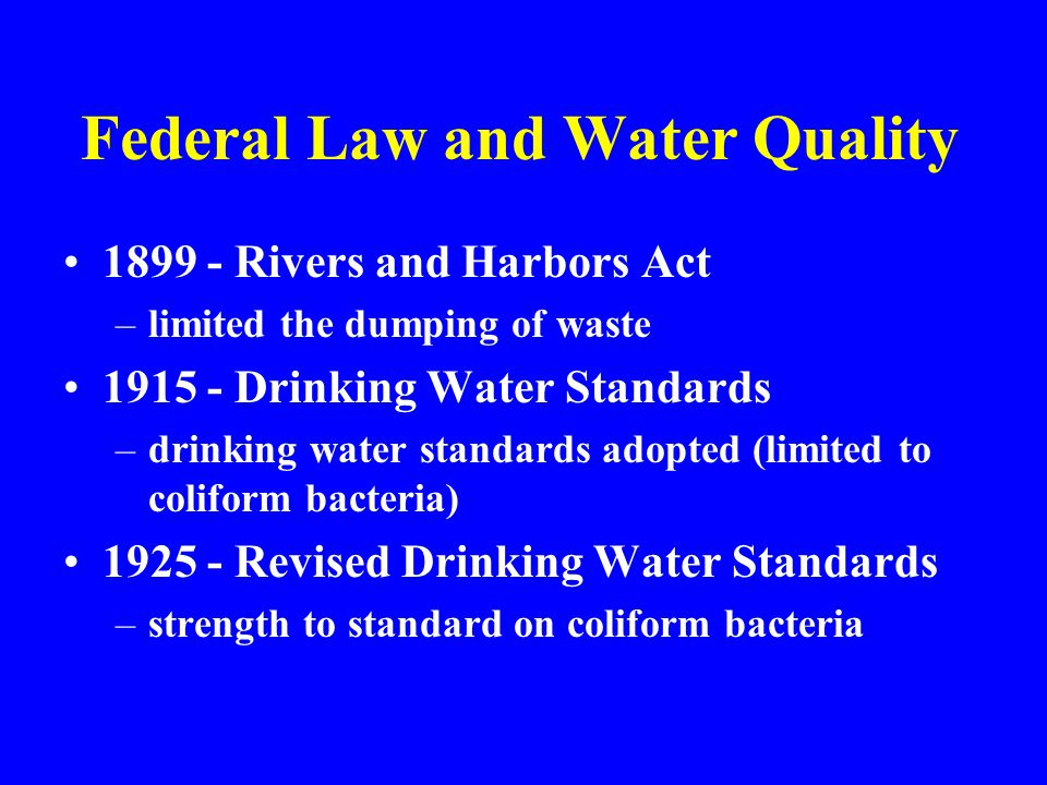 Federal Law and Water Quality