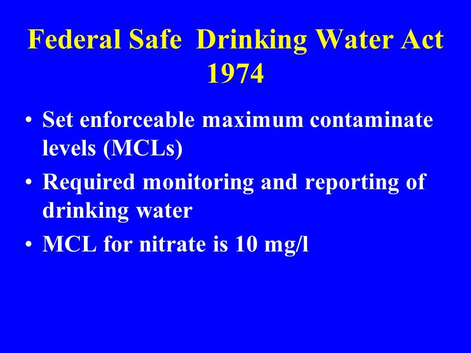Federal Safe Drinking Water Act 1974