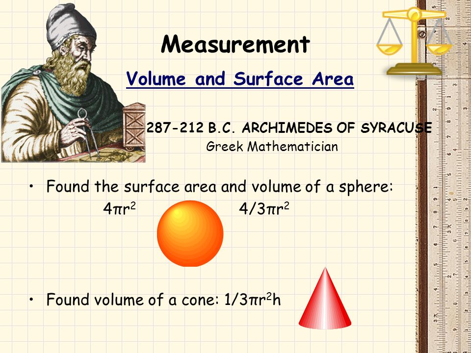 Volume and Surface Area 287-212 B.C. ARCHIMEDES OF SYRACUSE