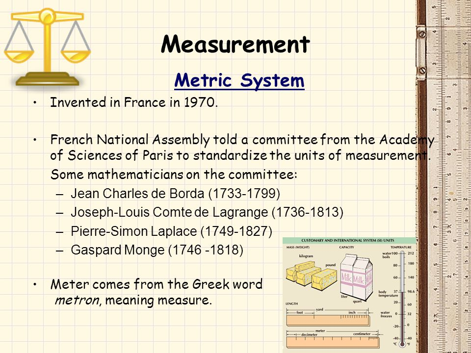 Measurement Metric System Invented in France in 1970.
