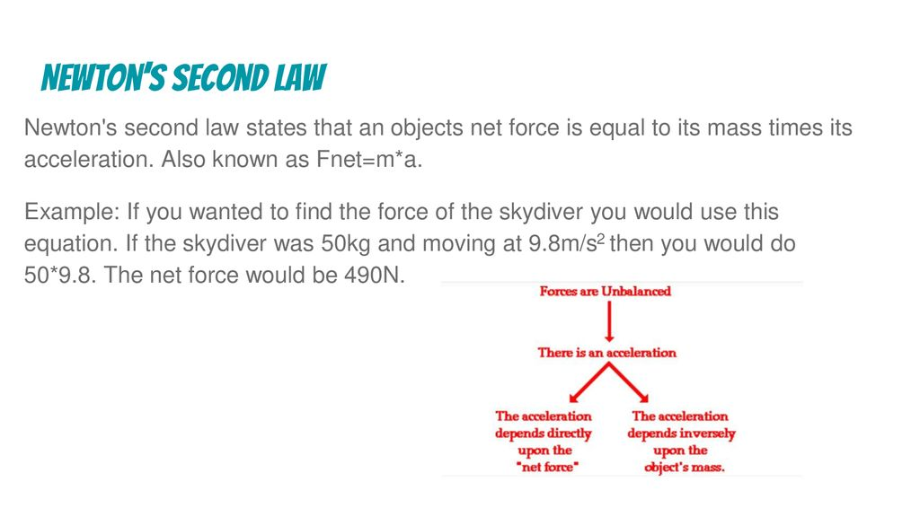 newton's second law newton s second law states that an objects net force is  equal to