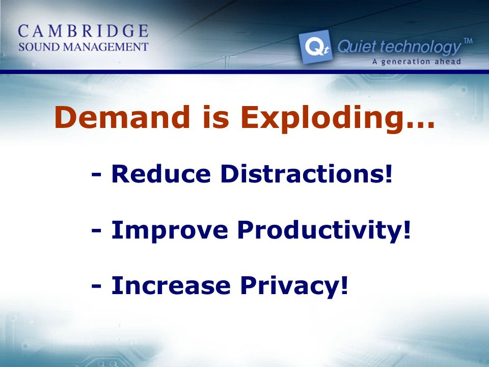 Demand is Exploding… - Reduce Distractions! - Improve Productivity!