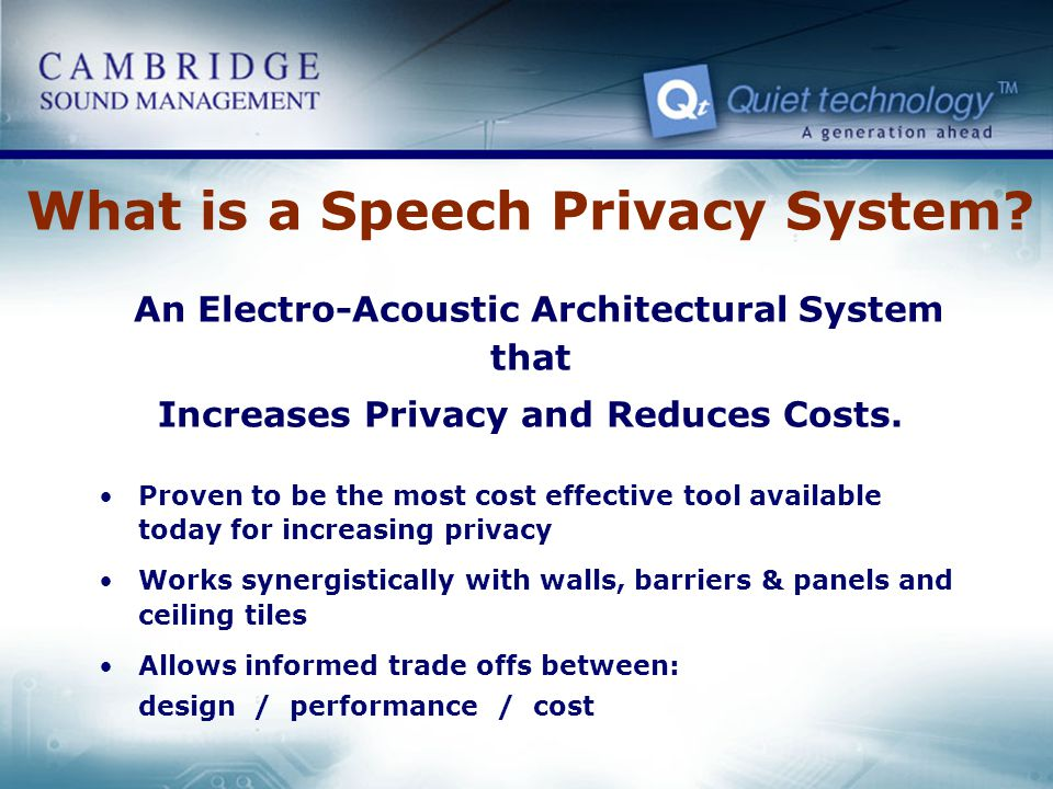 What is a Speech Privacy System