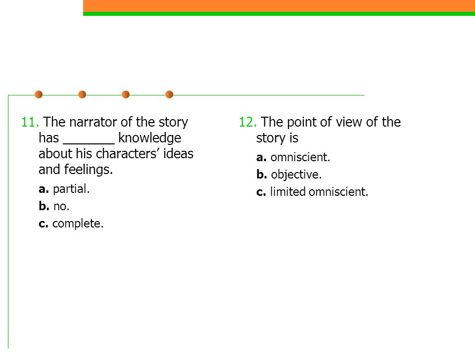 12. The point of view of the story is a. omniscient.