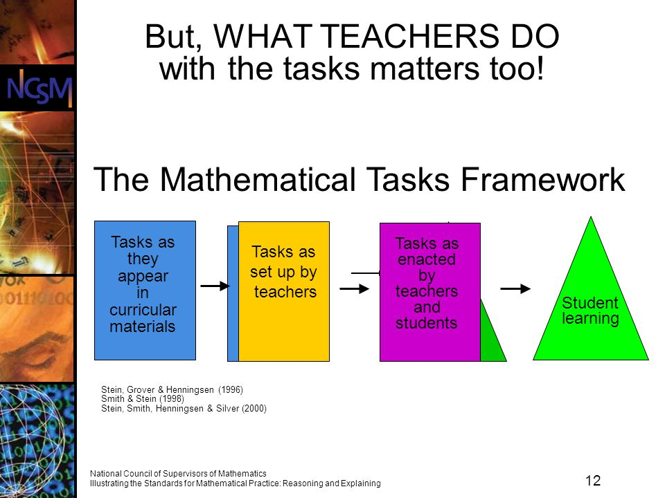 But, WHAT TEACHERS DO with the tasks matters too!