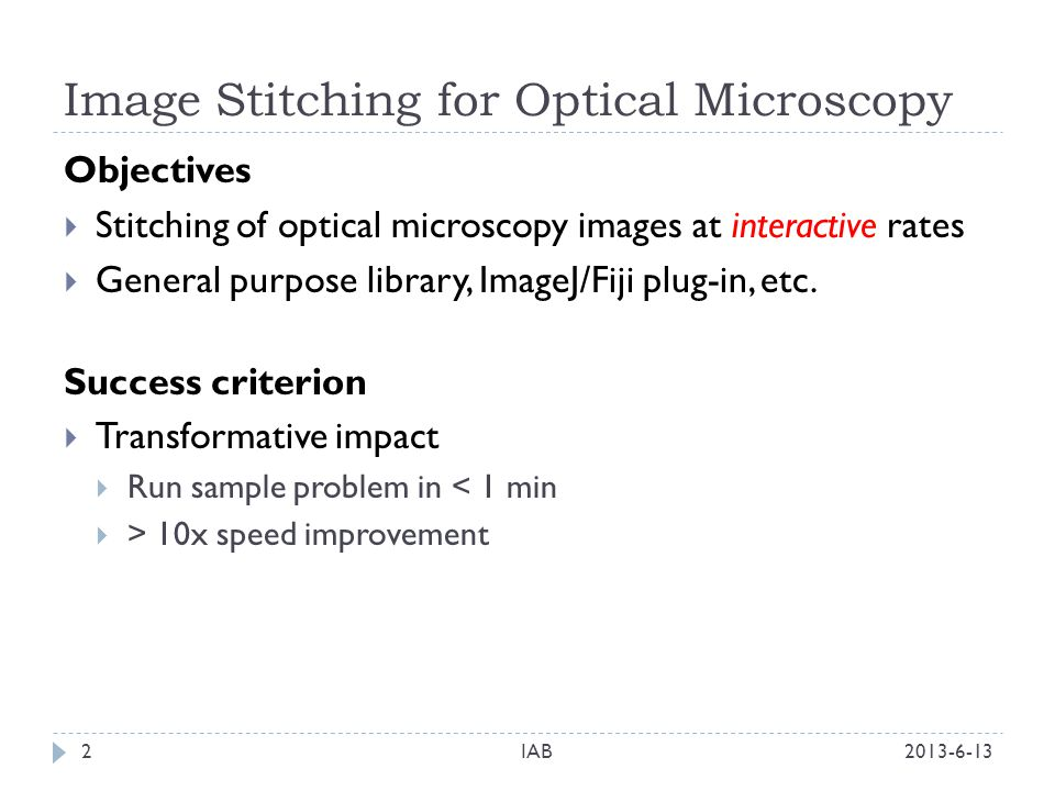 Image Stitching for Optical Microscopy - ppt download