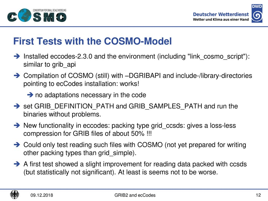 GRIB2 and ecCodes in the COSMO-Model - ppt download