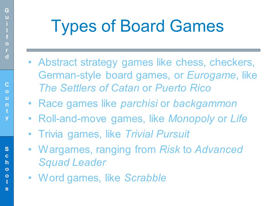 Types of Board Games Abstract strategy games like chess, checkers, German-style board games, or Eurogame, like The Settlers of Catan or Puerto Rico.