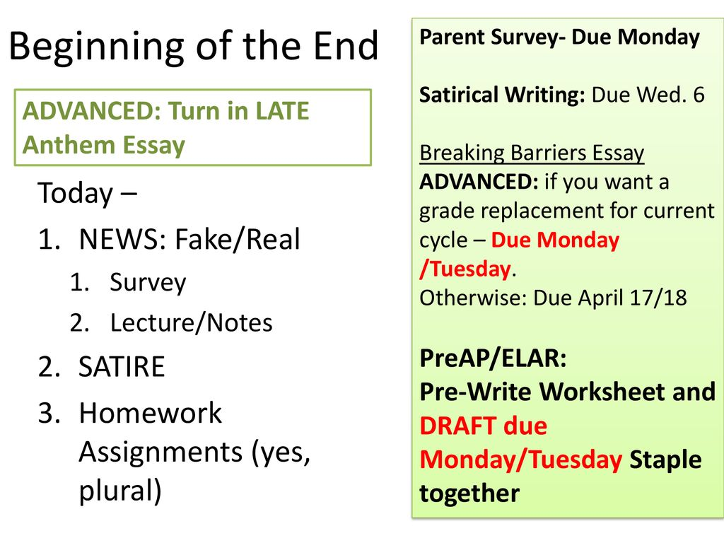 Beginning Of The End Today News Fake Real Satire Ppt Download