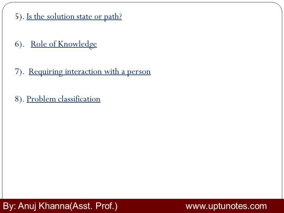 5). Is the solution state or path. 6). Role of Knowledge 7)