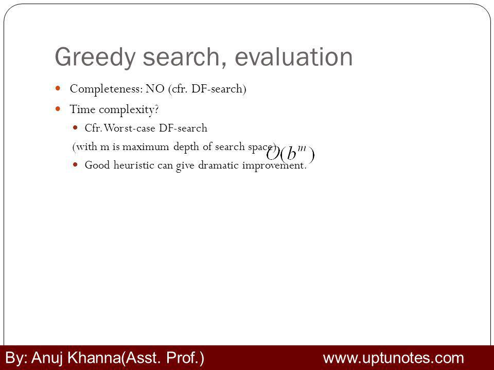 Greedy search, evaluation