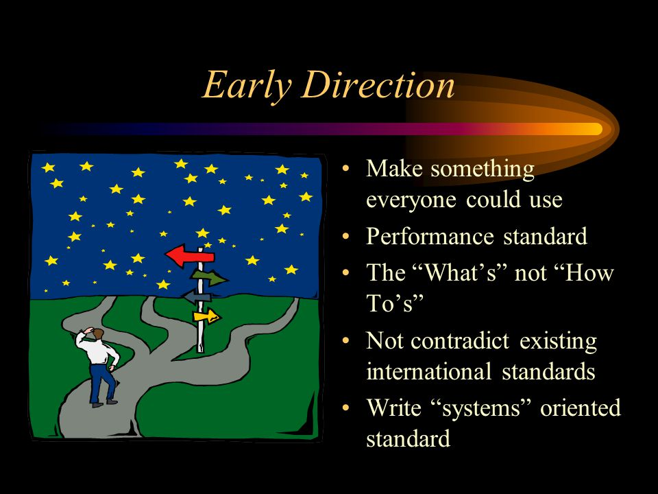 Early Direction Make something everyone could use Performance standard