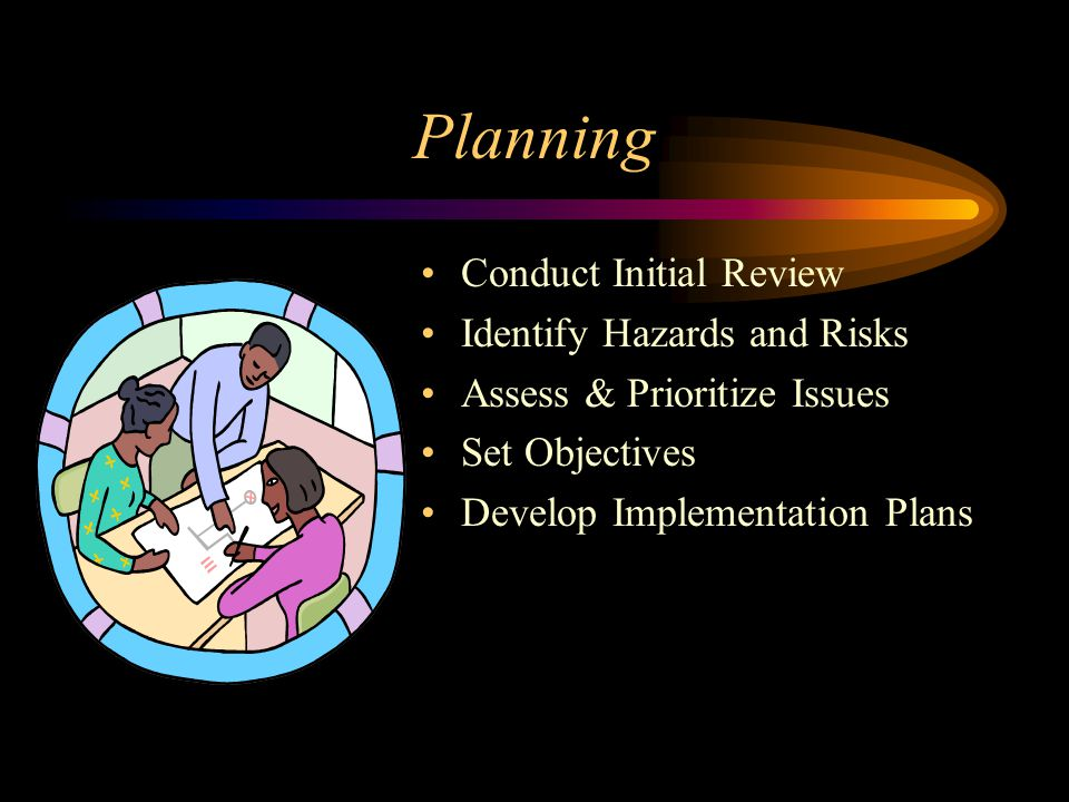 Planning Conduct Initial Review Identify Hazards and Risks