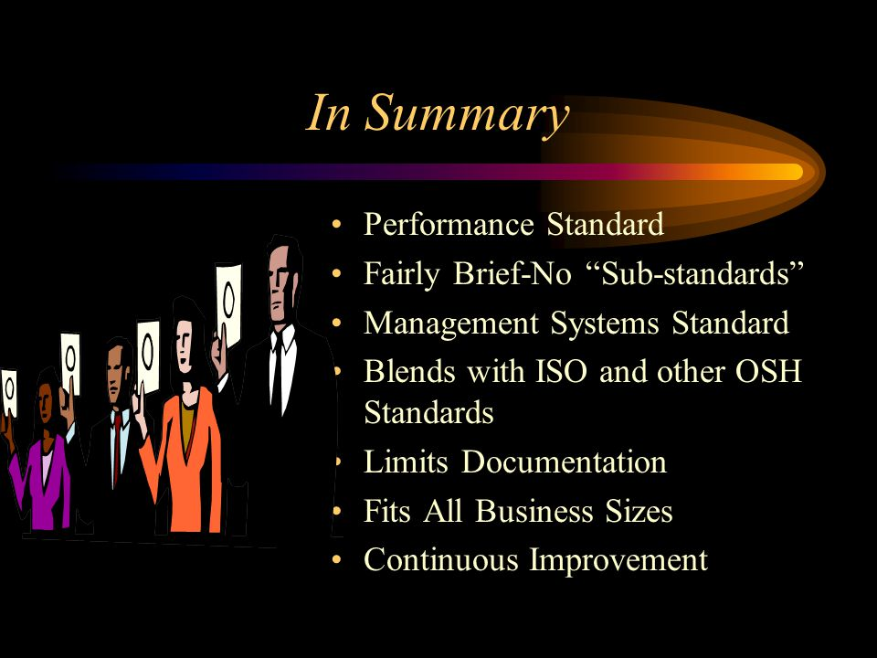 In Summary Performance Standard Fairly Brief-No Sub-standards