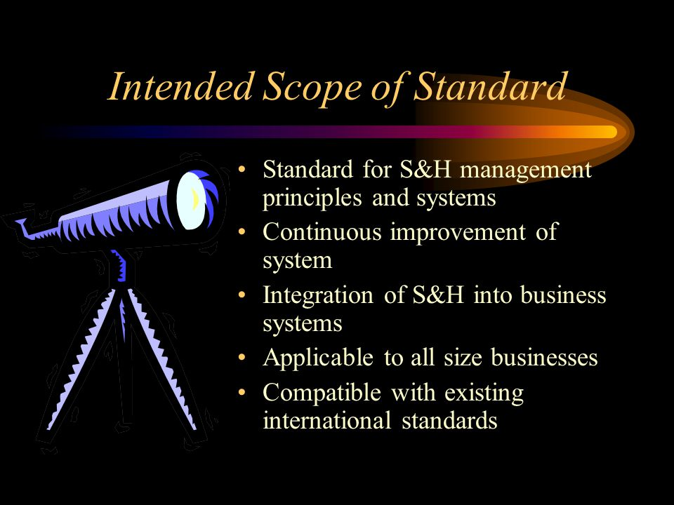 Intended Scope of Standard