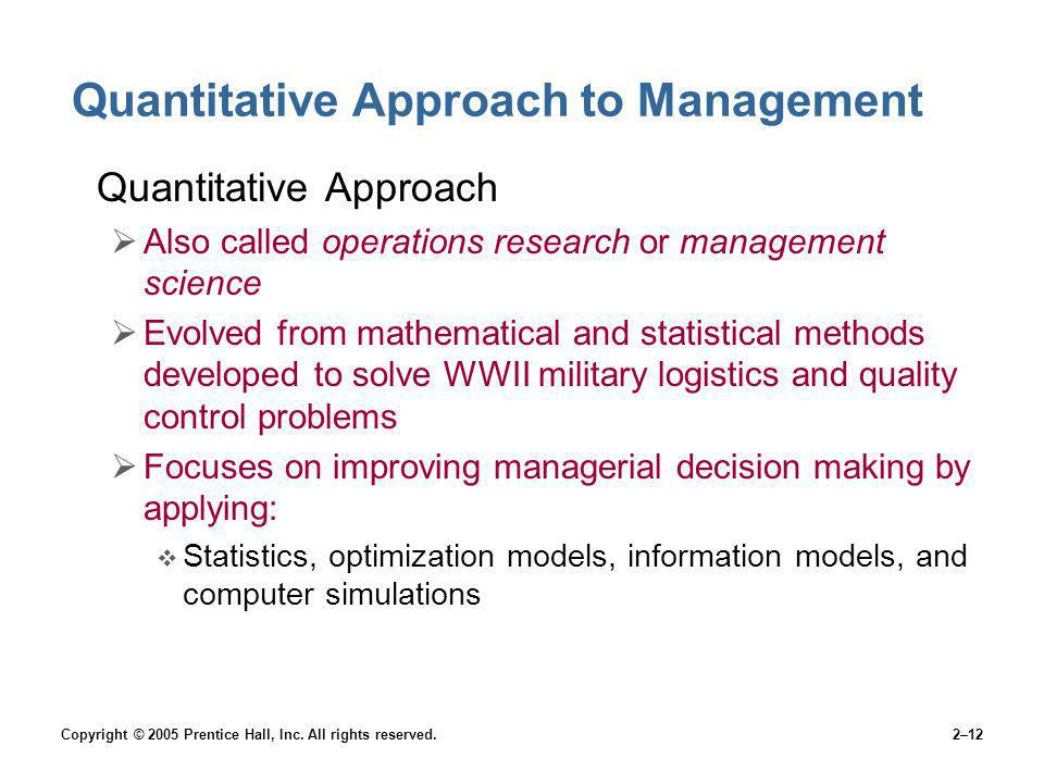 Quantitative Approach to Management