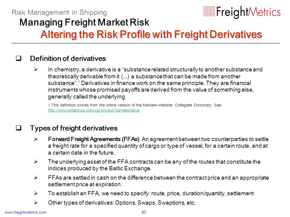 The market of freight derivatives