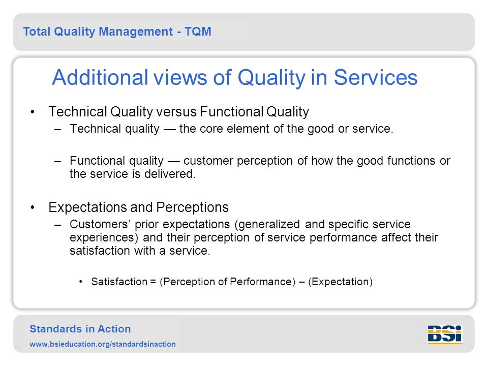 Additional views of Quality in Services
