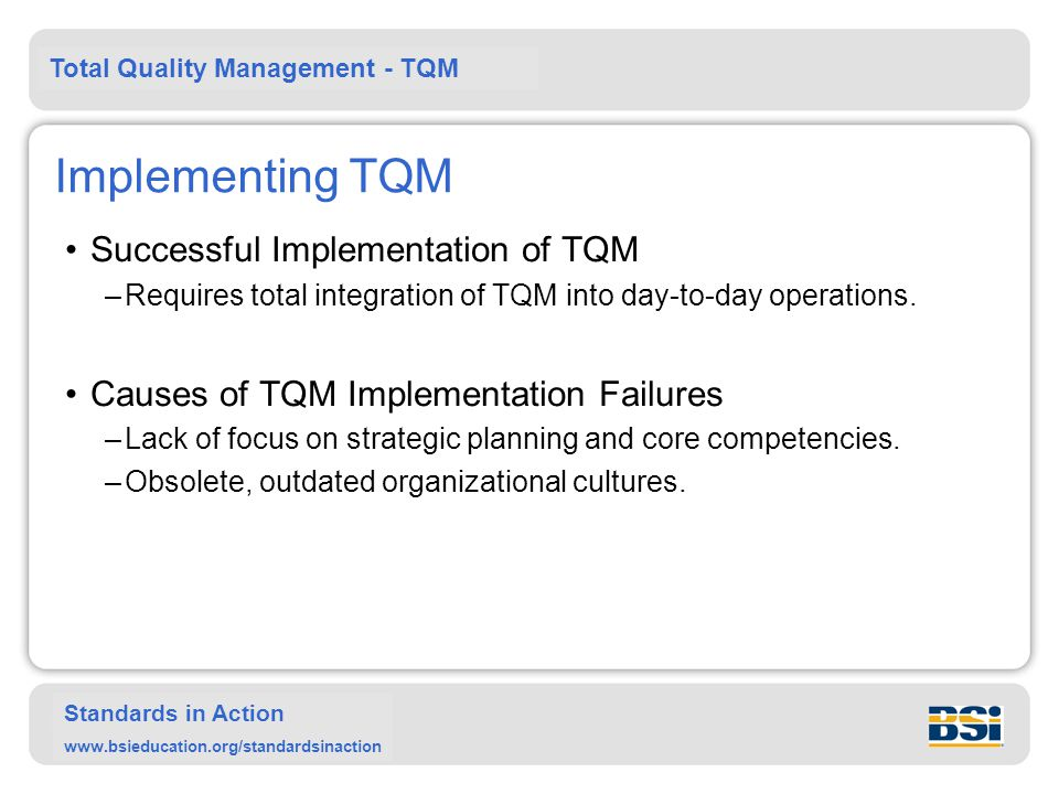 Implementing TQM Successful Implementation of TQM