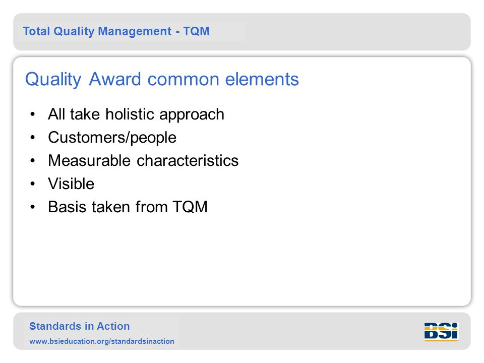 Quality Award common elements