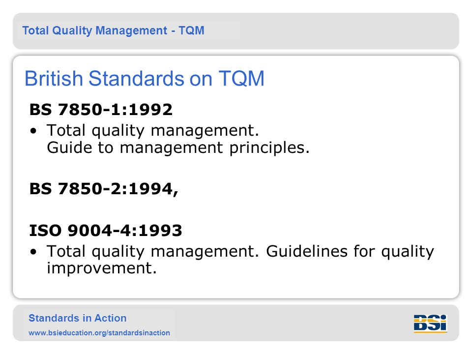 British Standards on TQM