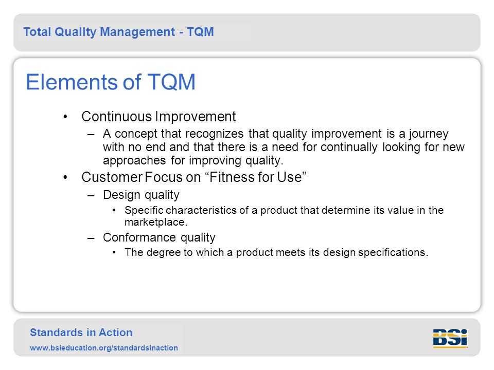Elements of TQM Continuous Improvement